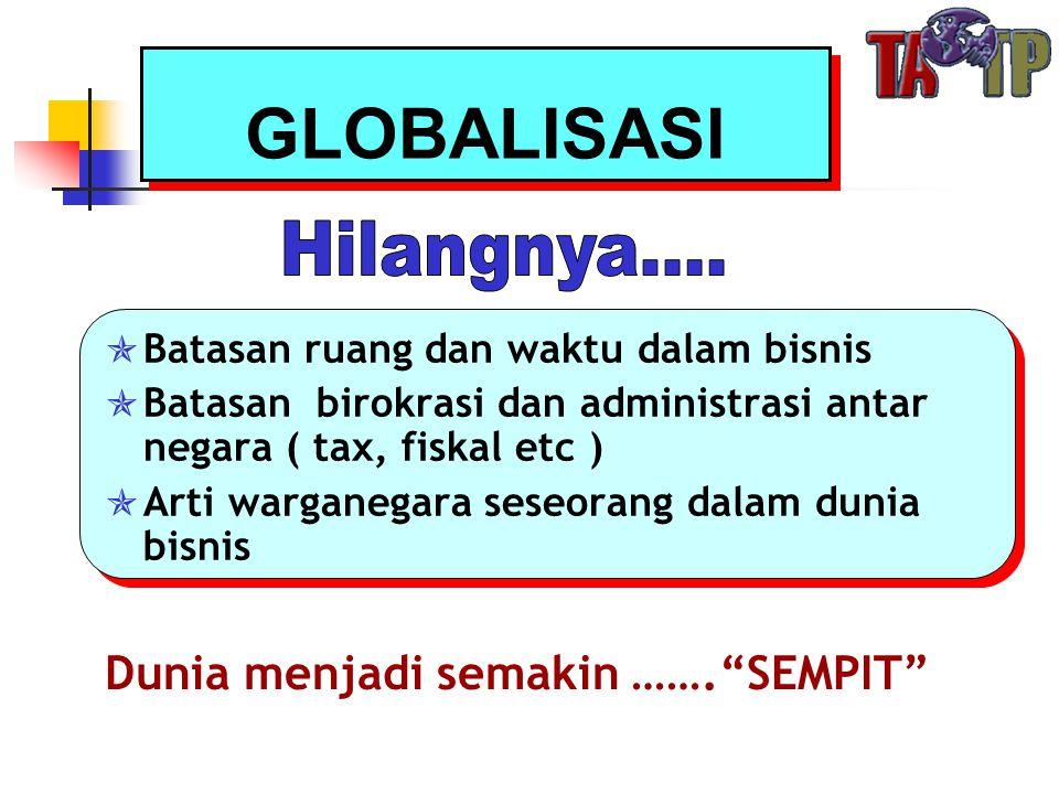 GLOBALISASI  Batasan ruang dan waktu dalam bisnis  Batasan birokrasi dan administrasi antar negara ( tax, fiskal etc )  Arti warganegara seseorang