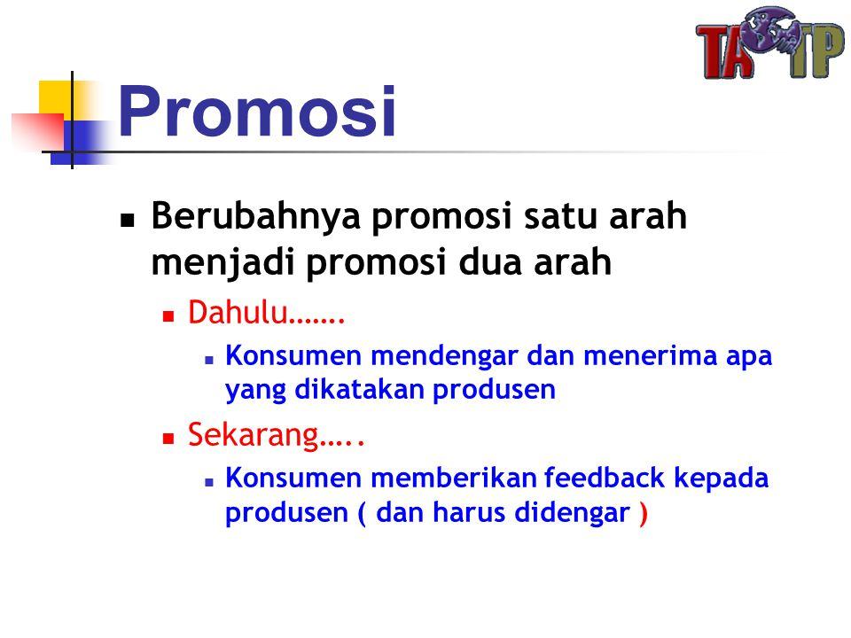 Promosi  Berubahnya promosi satu arah menjadi promosi dua arah  Dahulu…….  Konsumen mendengar dan menerima apa yang dikatakan produsen  Sekarang….