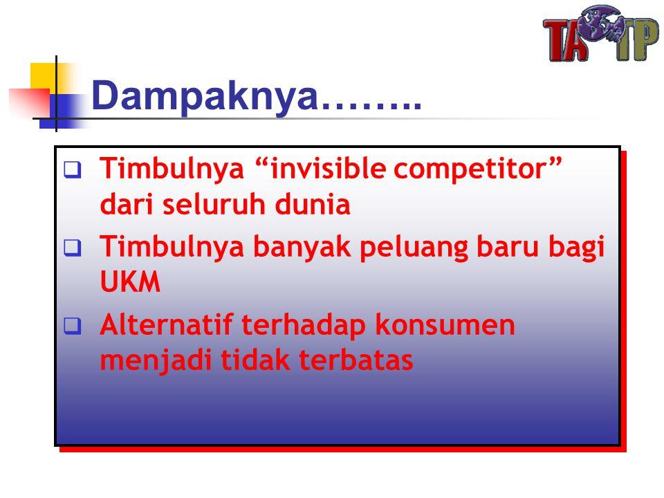 """Dampaknya……..  Timbulnya """"invisible competitor"""" dari seluruh dunia  Timbulnya banyak peluang baru bagi UKM  Alternatif terhadap konsumen menjadi ti"""