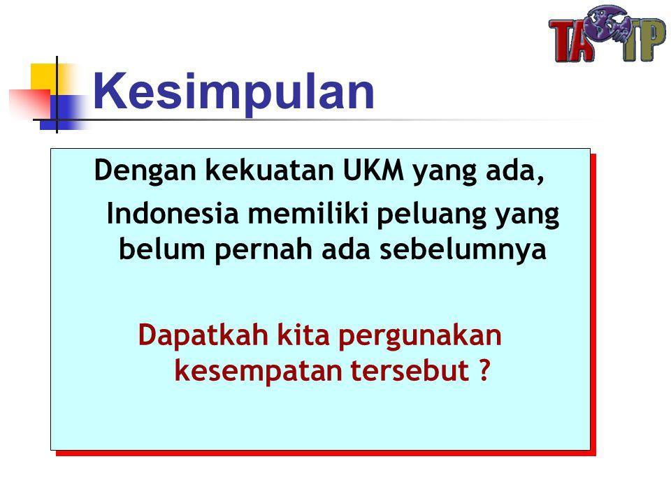 Kesimpulan Dengan kekuatan UKM yang ada, Indonesia memiliki peluang yang belum pernah ada sebelumnya Dapatkah kita pergunakan kesempatan tersebut ? De