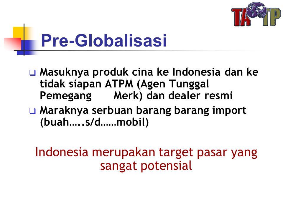 Pre-Globalisasi  Masuknya produk cina ke Indonesia dan ke tidak siapan ATPM (Agen Tunggal Pemegang Merk) dan dealer resmi  Maraknya serbuan barang b