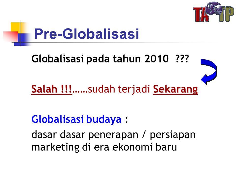 Globalisasi pada tahun 2010 ??? Salah !!!Sekarang Salah !!!……sudah terjadi Sekarang Globalisasi budaya : dasar dasar penerapan / persiapan marketing d