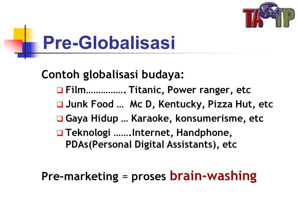 Contoh globalisasi budaya:  Film……………. Titanic, Power ranger, etc  Junk Food … Mc D, Kentucky, Pizza Hut, etc  Gaya Hidup … Karaoke, konsumerisme,