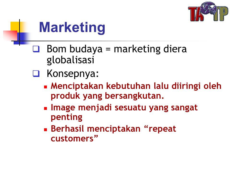 Marketing  Bom budaya = marketing diera globalisasi  Konsepnya:  Menciptakan kebutuhan lalu diiringi oleh produk yang bersangkutan.  Image menjadi