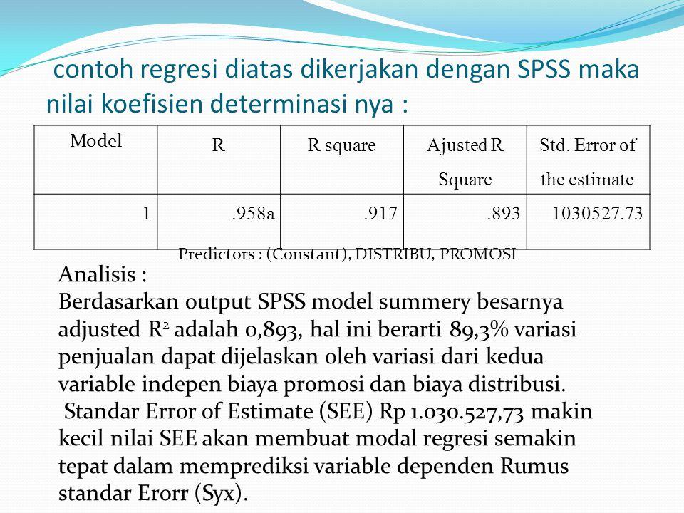 contoh regresi diatas dikerjakan dengan SPSS maka nilai koefisien determinasi nya : Model RR square Ajusted R Square Std. Error of the estimate 1.958a