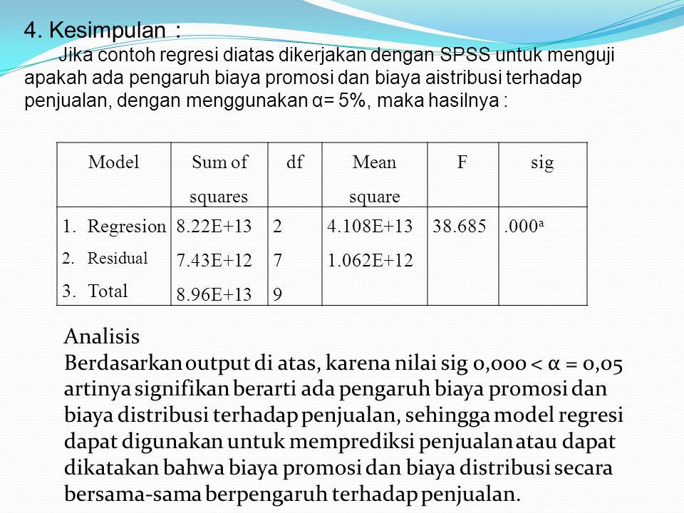 4. Kesimpulan : Jika contoh regresi diatas dikerjakan dengan SPSS untuk menguji apakah ada pengaruh biaya promosi dan biaya aistribusi terhadap penjua