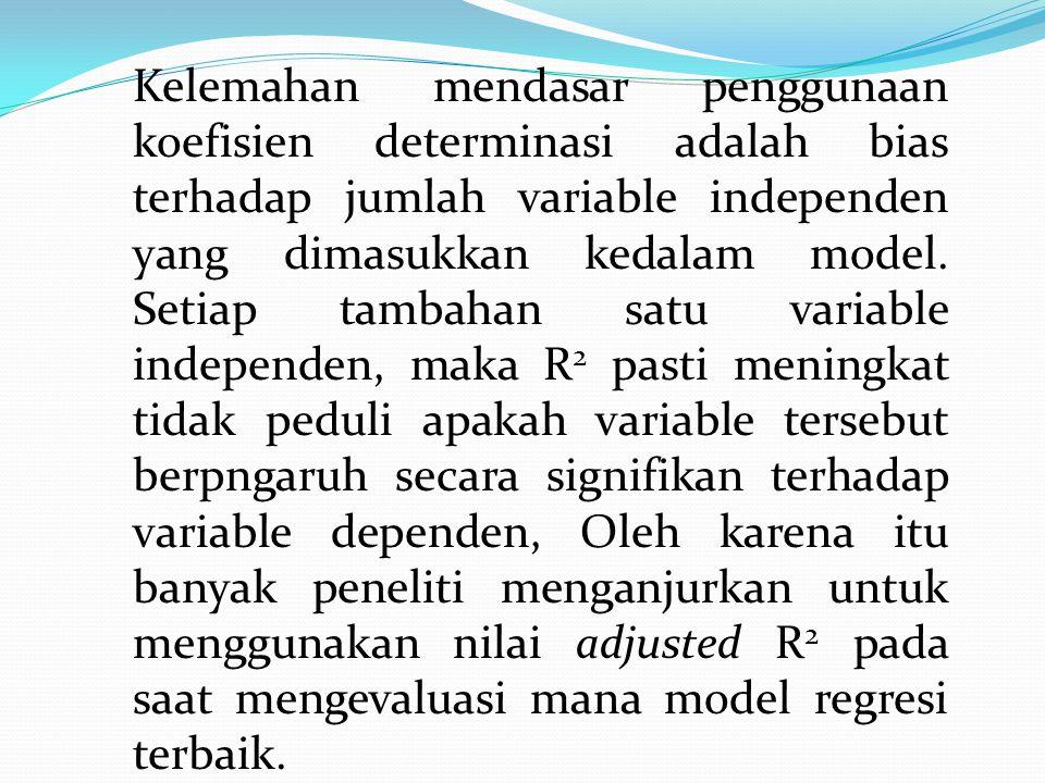 Kelemahan mendasar penggunaan koefisien determinasi adalah bias terhadap jumlah variable independen yang dimasukkan kedalam model. Setiap tambahan sat