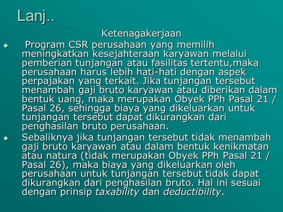 Lanj.. Ketenagakerjaan  Program CSR perusahaan yang memilih meningkatkan kesejahteraan karyawan melalui pemberian tunjangan atau fasilitas tertentu,m