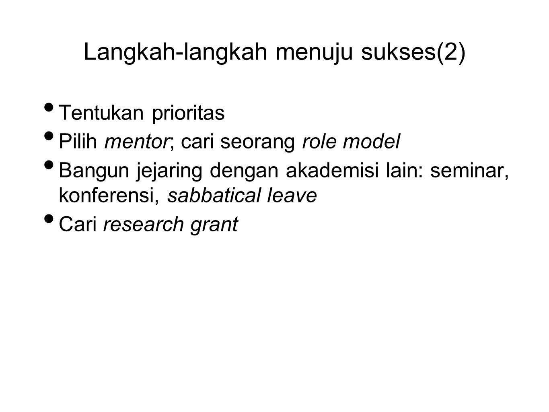 Langkah-langkah menuju sukses(2) • Tentukan prioritas • Pilih mentor; cari seorang role model • Bangun jejaring dengan akademisi lain: seminar, konfer