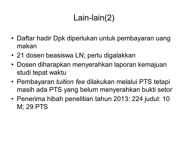 Lain-lain(2) •Daftar hadir Dpk diperlukan untuk pembayaran uang makan •21 dosen beasiswa LN; perlu digalakkan •Dosen diharapkan menyerahkan laporan ke
