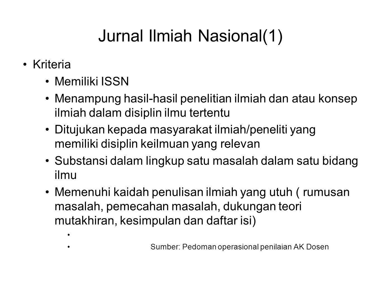 Jurnal Ilmiah Nasional(1) •Kriteria •Memiliki ISSN •Menampung hasil-hasil penelitian ilmiah dan atau konsep ilmiah dalam disiplin ilmu tertentu •Dituj