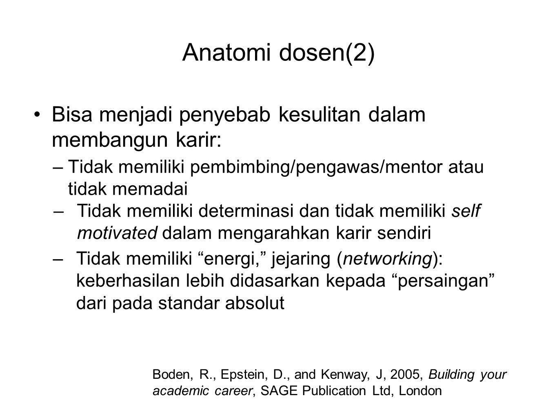 Anatomi dosen(2) •Bisa menjadi penyebab kesulitan dalam membangun karir: –Tidak memiliki pembimbing/pengawas/mentor atau tidak memadai Boden, R., Epst