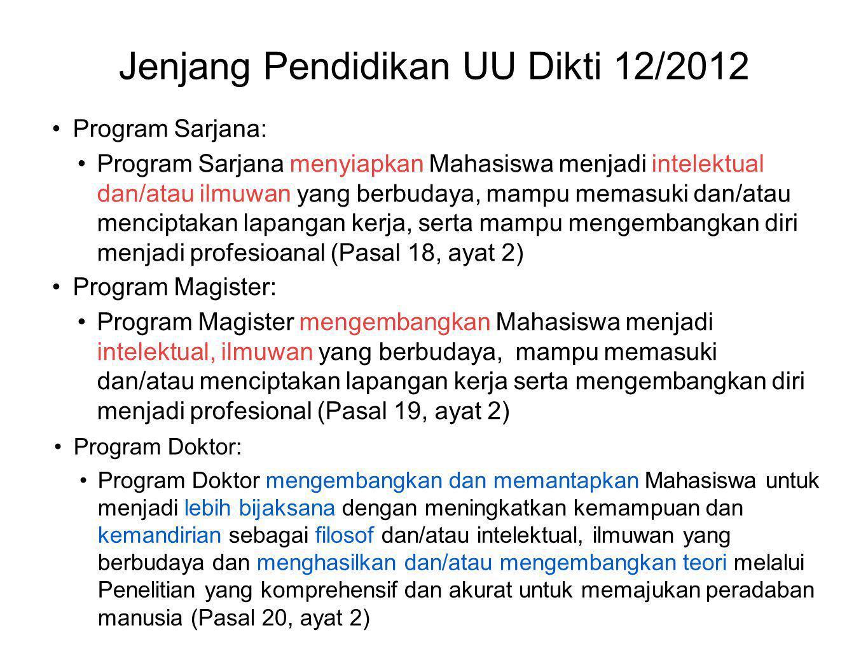 Jenjang Pendidikan UU Dikti 12/2012 •Program Sarjana: •Program Sarjana menyiapkan Mahasiswa menjadi intelektual dan/atau ilmuwan yang berbudaya, mampu