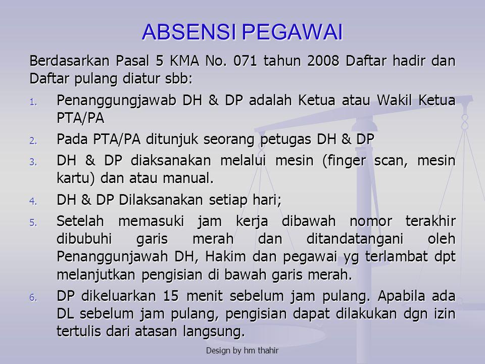 PERMASALAHAN 1. ABSENSI PEGAWAI 2. CUTI PNS 3. DPT3 4. MUTASI & PROMOSI 5. JABATAN RANGKAP 6. PENINGKATAN KUALITAS SDM Design by hm thahir