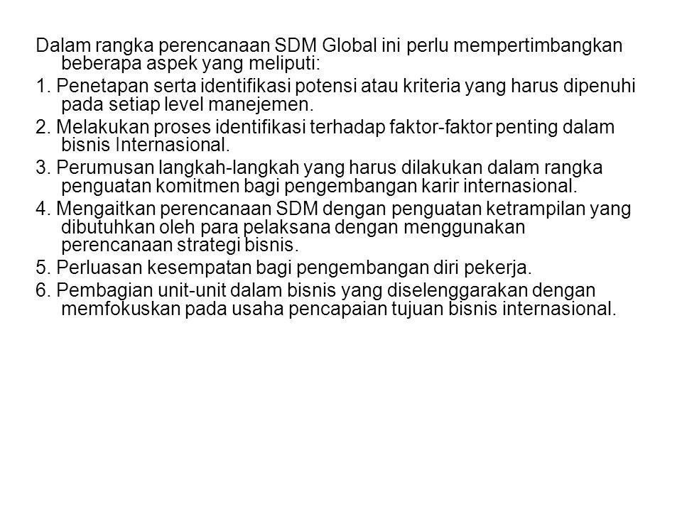 Dalam perencanaan SDM Global diperlukan sebuah analisis pasar tenaga kerja eksternal, baik yang bersifat lokal atau domestik maupun internasional. Ana