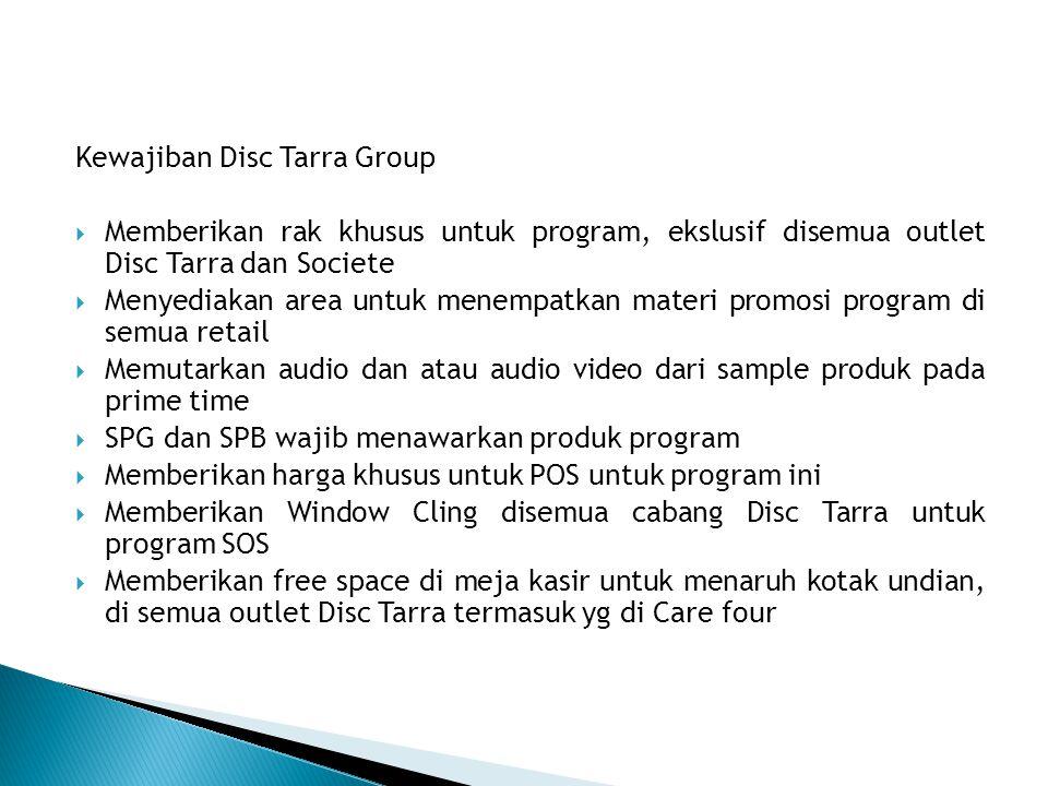 Kewajiban Disc Tarra Group  Memberikan rak khusus untuk program, ekslusif disemua outlet Disc Tarra dan Societe  Menyediakan area untuk menempatkan