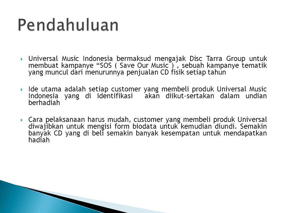 """ Universal Music Indonesia bermaksud mengajak Disc Tarra Group untuk membuat kampanye """"SOS ( Save Our Music ), sebuah kampanye tematik yang muncul da"""