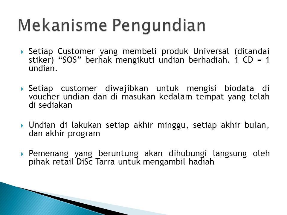 " Setiap Customer yang membeli produk Universal (ditandai stiker) ""SOS"" berhak mengikuti undian berhadiah. 1 CD = 1 undian.  Setiap customer diwajibk"