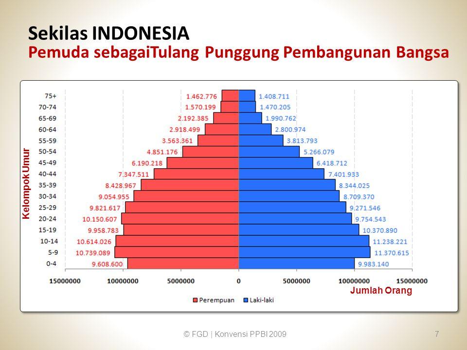Sekilas INDONESIA Pemuda sebagaiTulang Punggung Pembangunan Bangsa © FGD | Konvensi PPBI 20097 Kelompok Umur Jumlah Orang