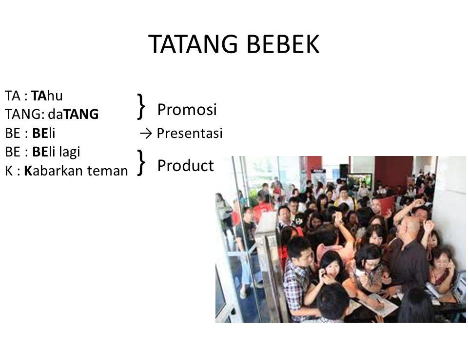 TATANG BEBEK TA : TAhu TANG: daTANG BE : BEli BE : BEli lagi K : Kabarkan teman } Promosi → Presentasi } Product