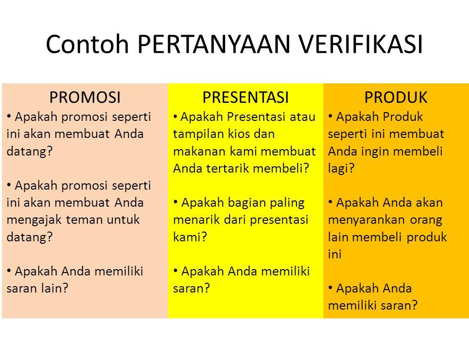 Contoh PERTANYAAN VERIFIKASI PROMOSI • Apakah promosi seperti ini akan membuat Anda datang? • Apakah promosi seperti ini akan membuat Anda mengajak te