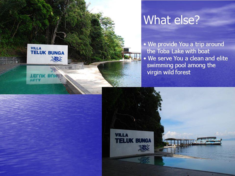 What else? • We provide You a trip around the Toba Lake with boat • We serve You a clean and elite swimming pool among the virgin wild forest