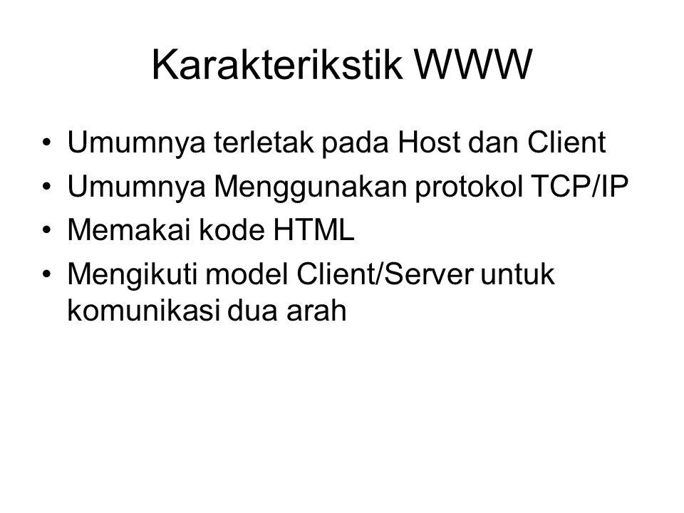 Karakterikstik WWW •Umumnya terletak pada Host dan Client •Umumnya Menggunakan protokol TCP/IP •Memakai kode HTML •Mengikuti model Client/Server untuk