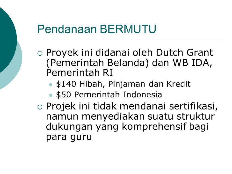 Pendanaan BERMUTU  Proyek ini didanai oleh Dutch Grant (Pemerintah Belanda) dan WB IDA, Pemerintah RI  $140 Hibah, Pinjaman dan Kredit  $50 Pemerin