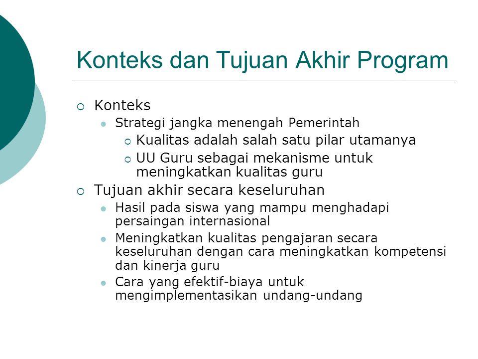Konteks dan Tujuan Akhir Program  Konteks  Strategi jangka menengah Pemerintah  Kualitas adalah salah satu pilar utamanya  UU Guru sebagai mekanis