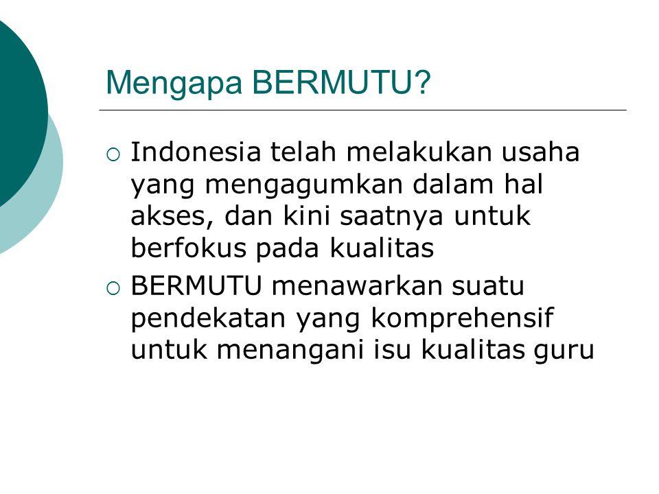 Mengapa BERMUTU?  Indonesia telah melakukan usaha yang mengagumkan dalam hal akses, dan kini saatnya untuk berfokus pada kualitas  BERMUTU menawarka