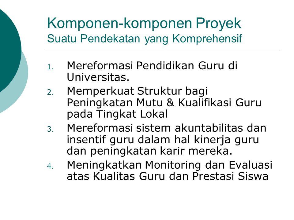 Komponen-komponen Proyek Suatu Pendekatan yang Komprehensif 1. Mereformasi Pendidikan Guru di Universitas. 2. Memperkuat Struktur bagi Peningkatan Mut