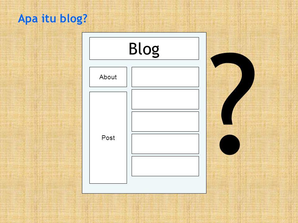 Blog adalah… …website pribadi dalam format kronologis terbalik (yang terbaru diatas) yang di-update secara kontinyu oleh pemiliknya.