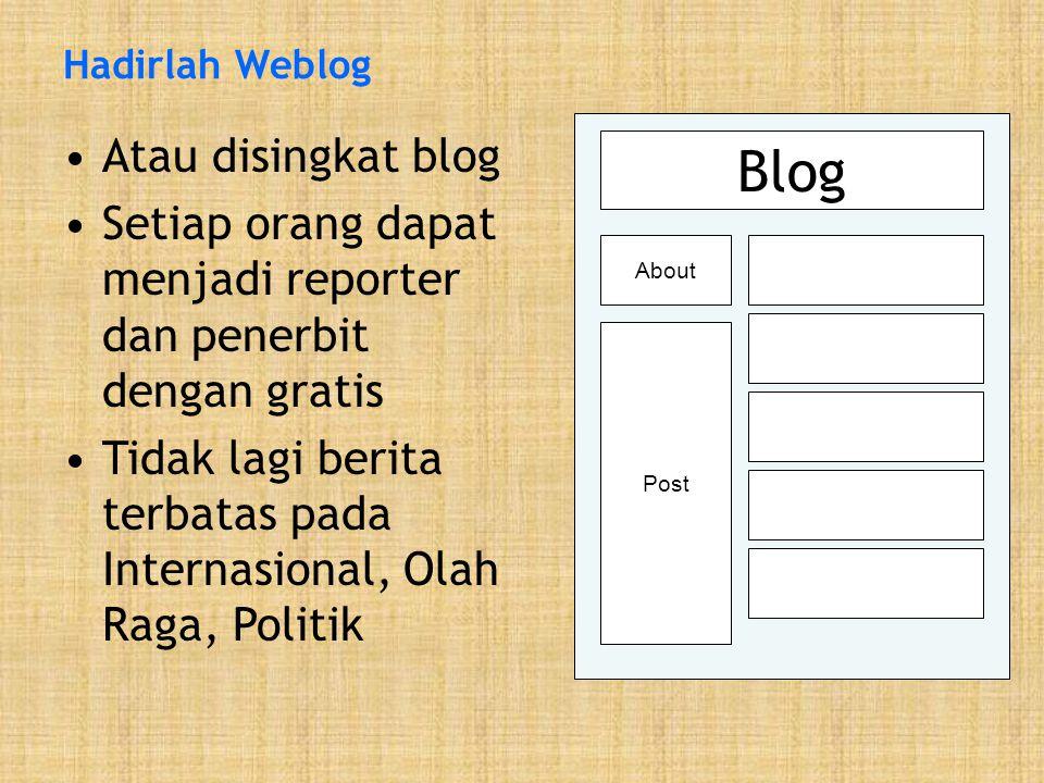 Hadirlah Weblog •Atau disingkat blog •Setiap orang dapat menjadi reporter dan penerbit dengan gratis •Tidak lagi berita terbatas pada Internasional, Olah Raga, Politik Blog About Post