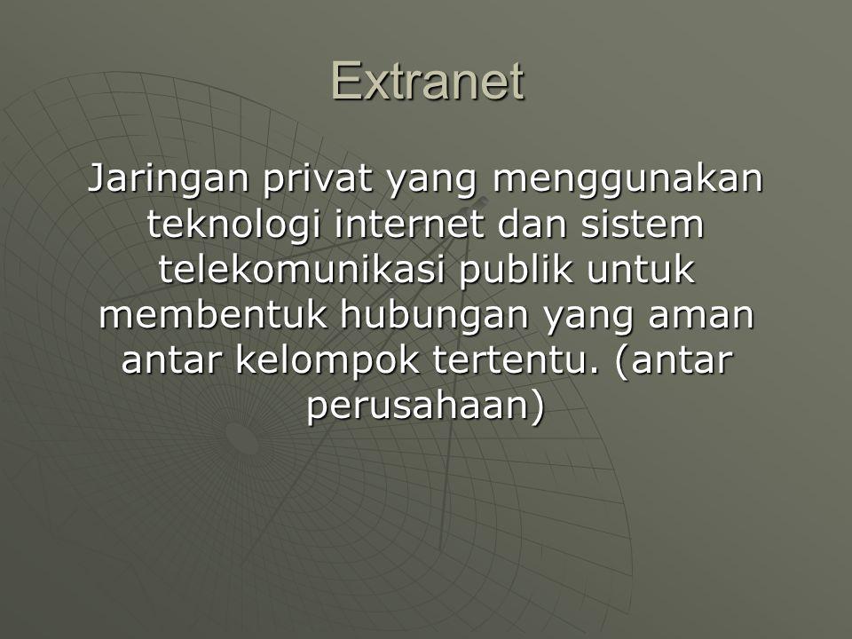 Extranet Jaringan privat yang menggunakan teknologi internet dan sistem telekomunikasi publik untuk membentuk hubungan yang aman antar kelompok tertentu.