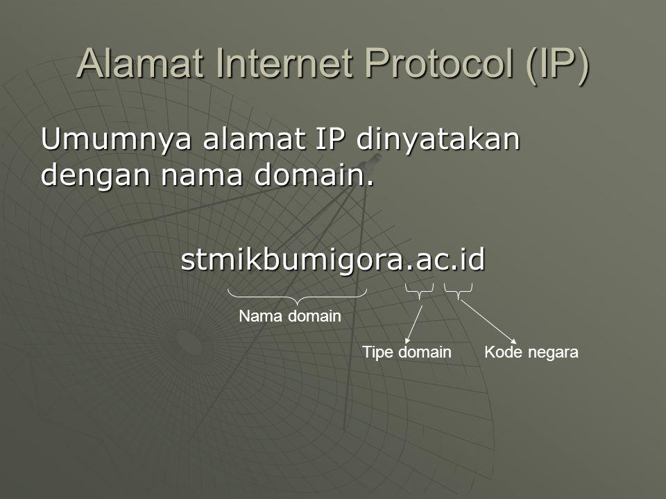 Alamat Internet Protocol (IP) Umumnya alamat IP dinyatakan dengan nama domain.