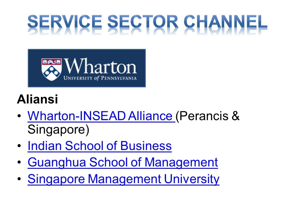 Aliansi •Wharton-INSEAD Alliance (Perancis & Singapore)Wharton-INSEAD Alliance •Indian School of BusinessIndian School of Business •Guanghua School of ManagementGuanghua School of Management •Singapore Management UniversitySingapore Management University
