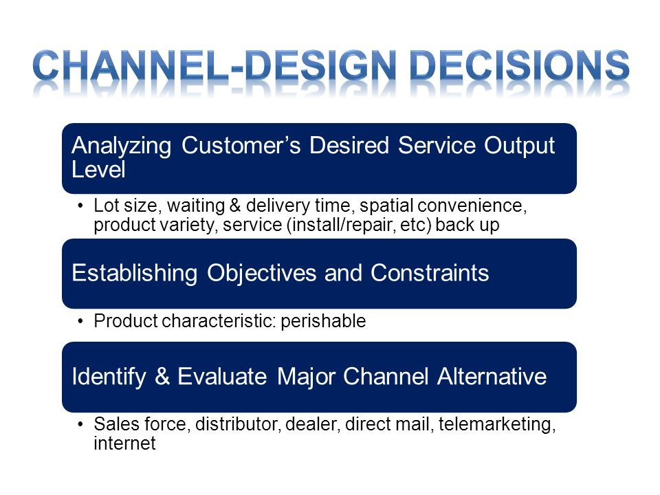 Analyzing Customer's Desired Service Output Level •Lot size, waiting & delivery time, spatial convenience, product variety, service (install/repair, etc) back up Establishing Objectives and Constraints •Product characteristic: perishable Identify & Evaluate Major Channel Alternative •Sales force, distributor, dealer, direct mail, telemarketing, internet