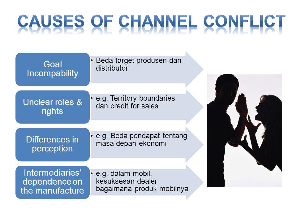 •Beda target produsen dan distributor Goal Incompability •e.g.