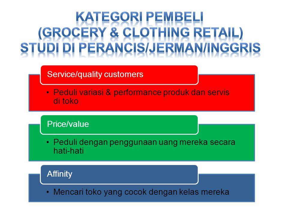 •Peduli variasi & performance produk dan servis di toko Service/quality customers •Peduli dengan penggunaan uang mereka secara hati-hati Price/value •Mencari toko yang cocok dengan kelas mereka Affinity