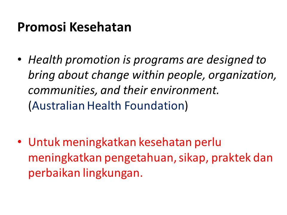 Visi dan Misi Promosi Kesehatan • Visi : meningkatkan kemampuan masyarakat untuk memelihara dan meningkatkan derajat kesehatan, baik fisik, mental, dan sosial shg dapat produktif secara ekonomi maupun sosial Promosi kesehatan terintegrasi kedalam semua program kesehatan