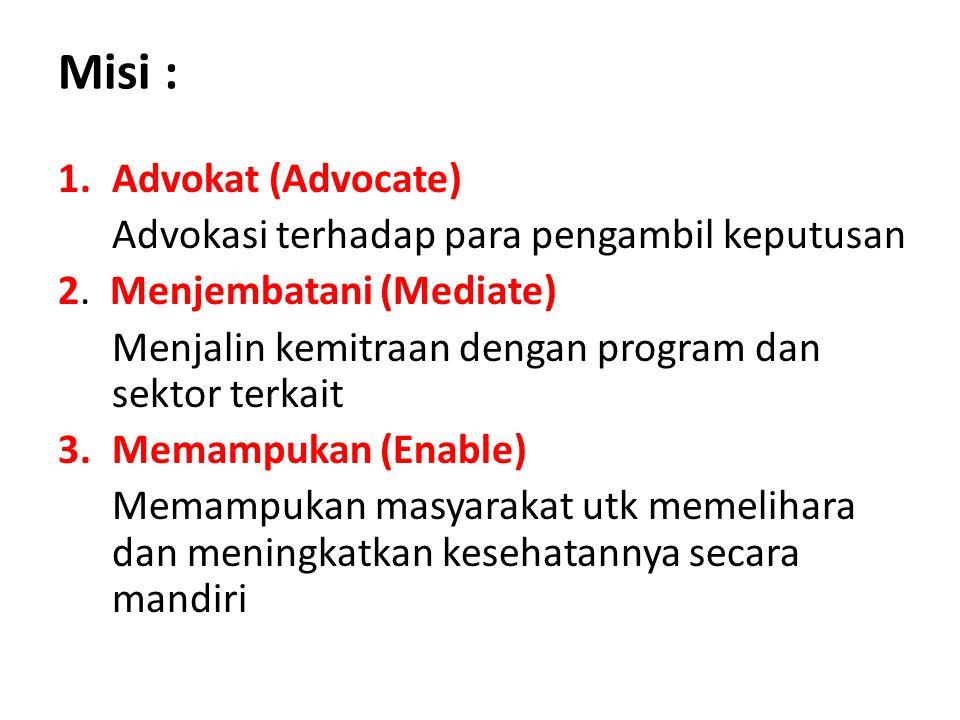 Misi : 1.Advokat (Advocate) Advokasi terhadap para pengambil keputusan 2. Menjembatani (Mediate) Menjalin kemitraan dengan program dan sektor terkait