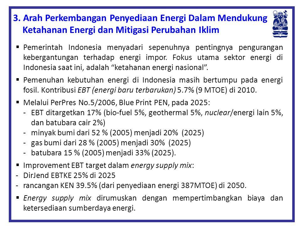  Pemerintah Indonesia menyadari sepenuhnya pentingnya pengurangan kebergantungan terhadap energi impor. Fokus utama sektor energi di Indonesia saat i