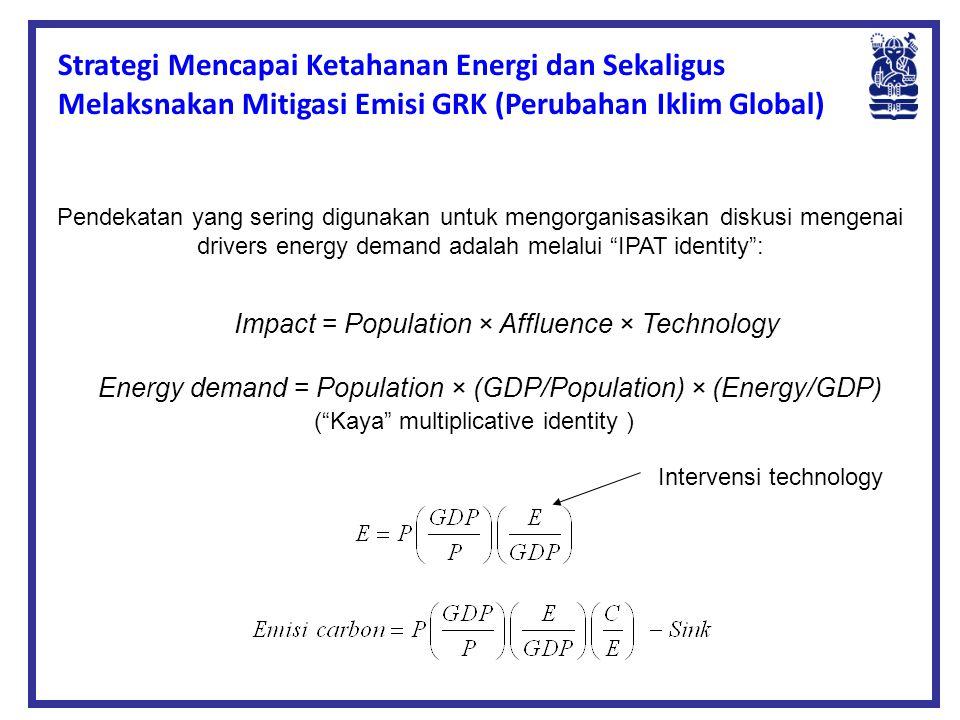 "Pendekatan yang sering digunakan untuk mengorganisasikan diskusi mengenai drivers energy demand adalah melalui ""IPAT identity"": Impact = Population ×"