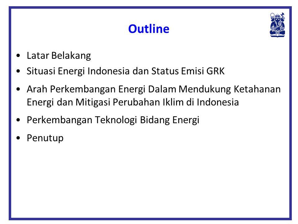 Outline •Latar Belakang •Situasi Energi Indonesia dan Status Emisi GRK •Arah Perkembangan Energi Dalam Mendukung Ketahanan Energi dan Mitigasi Perubah