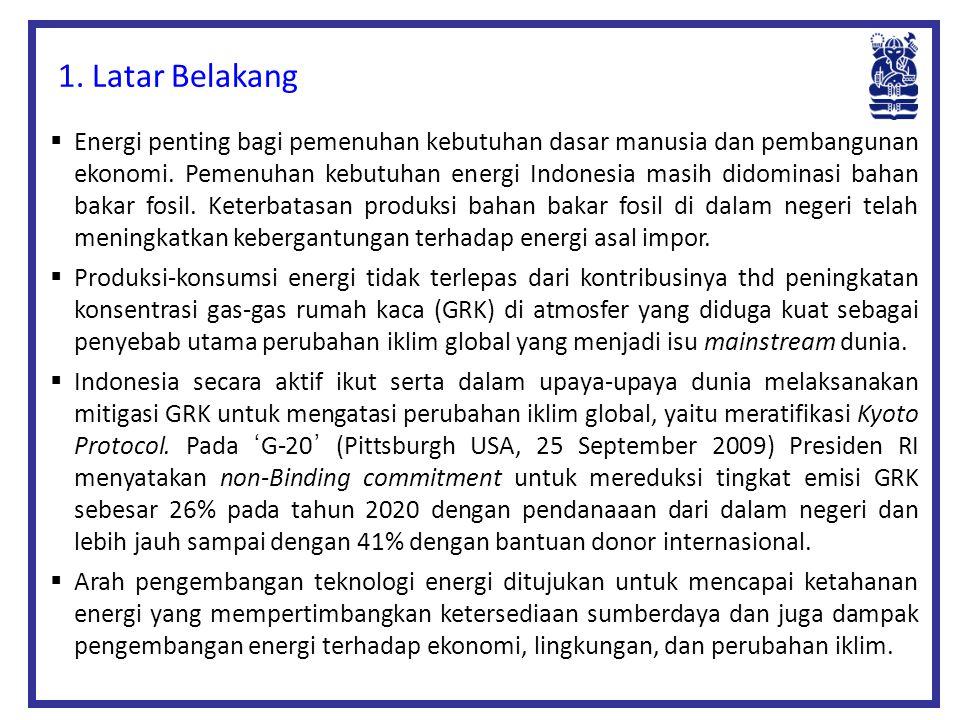  Energi penting bagi pemenuhan kebutuhan dasar manusia dan pembangunan ekonomi. Pemenuhan kebutuhan energi Indonesia masih didominasi bahan bakar fos