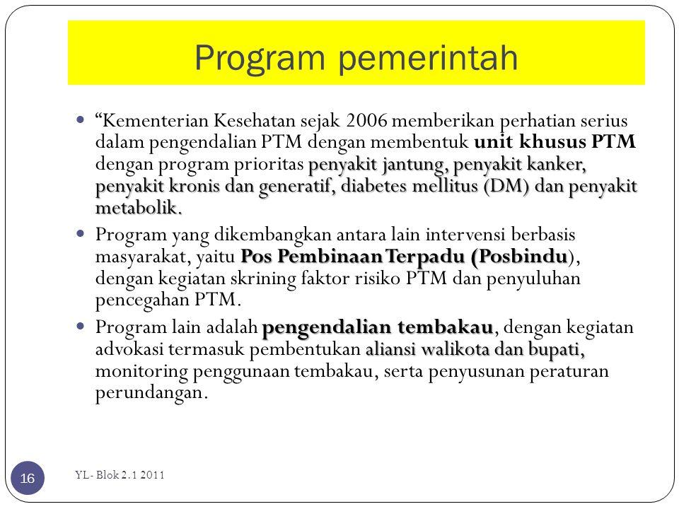 Program pemerintah YL- Blok 2.1 2011 16 penyakit jantung, penyakit kanker, penyakit kronis dan generatif, diabetes mellitus (DM) dan penyakit metaboli