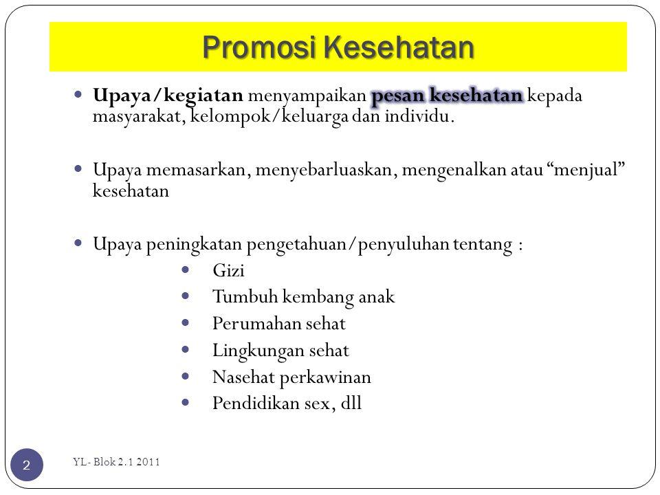 Promosi Kesehatan YL- Blok 2.1 2011 2