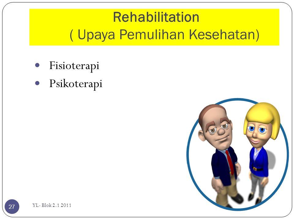 Rehabilitation ( Upaya Pemulihan Kesehatan) YL- Blok 2.1 2011 27  Fisioterapi  Psikoterapi