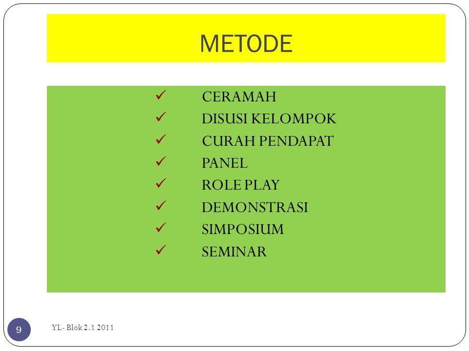 METODE  CERAMAH  DISUSI KELOMPOK  CURAH PENDAPAT  PANEL  ROLE PLAY  DEMONSTRASI  SIMPOSIUM  SEMINAR 9 YL- Blok 2.1 2011