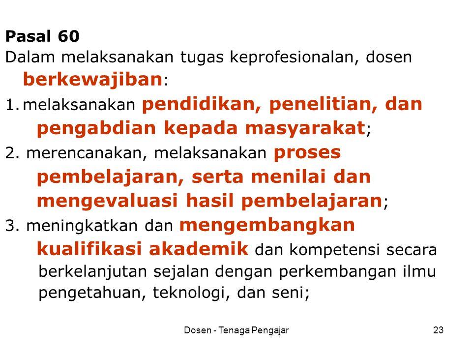 Dosen - Tenaga Pengajar23 Pasal 60 Dalam melaksanakan tugas keprofesionalan, dosen berkewajiban : 1.melaksanakan pendidikan, penelitian, dan pengabdia